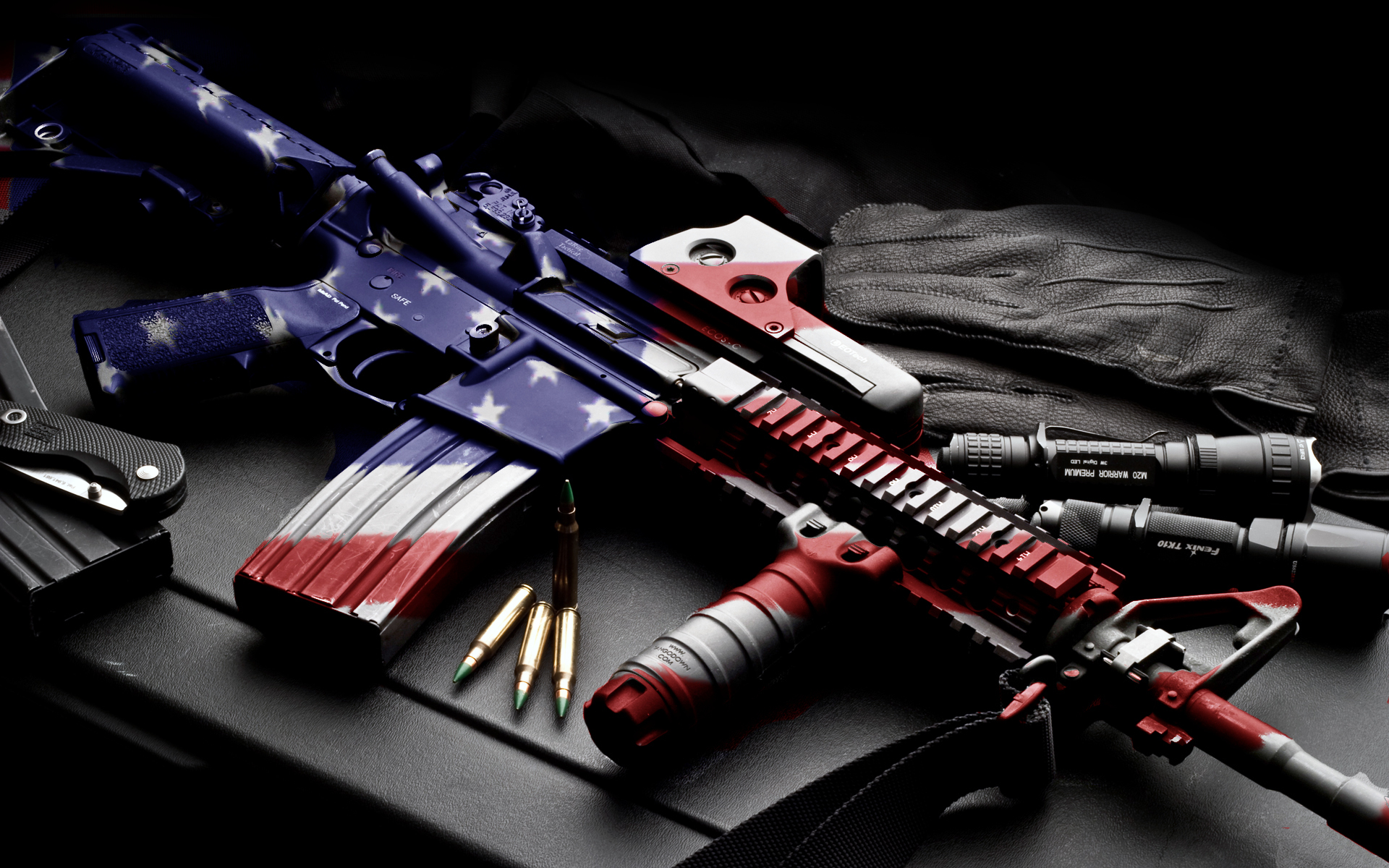 usa america guns mech machine bullet ammo ammuntion flag wallpaper 1920x1200