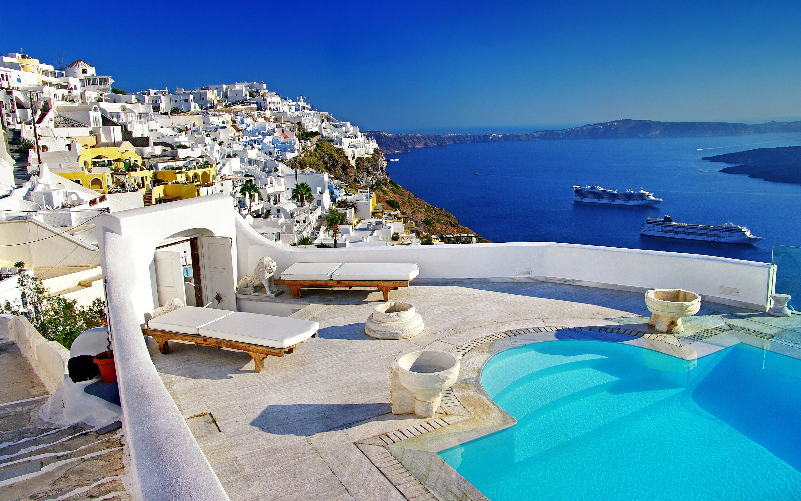 Santorini Greece Hotels Honeymoon HD Wallpaper Background Images 2560x1600