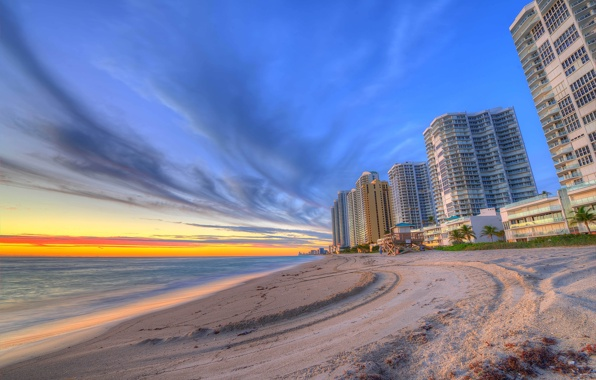 Miami fl florida miami evening sunset houses skyscrapers beach 596x380