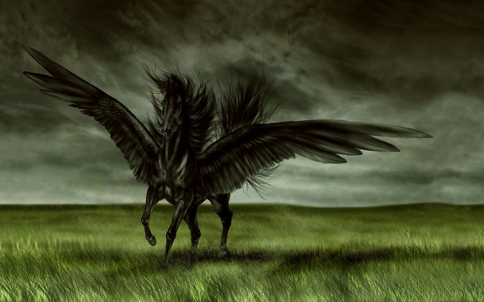 Dark fantasy wallpaper magic horse 1680x1050