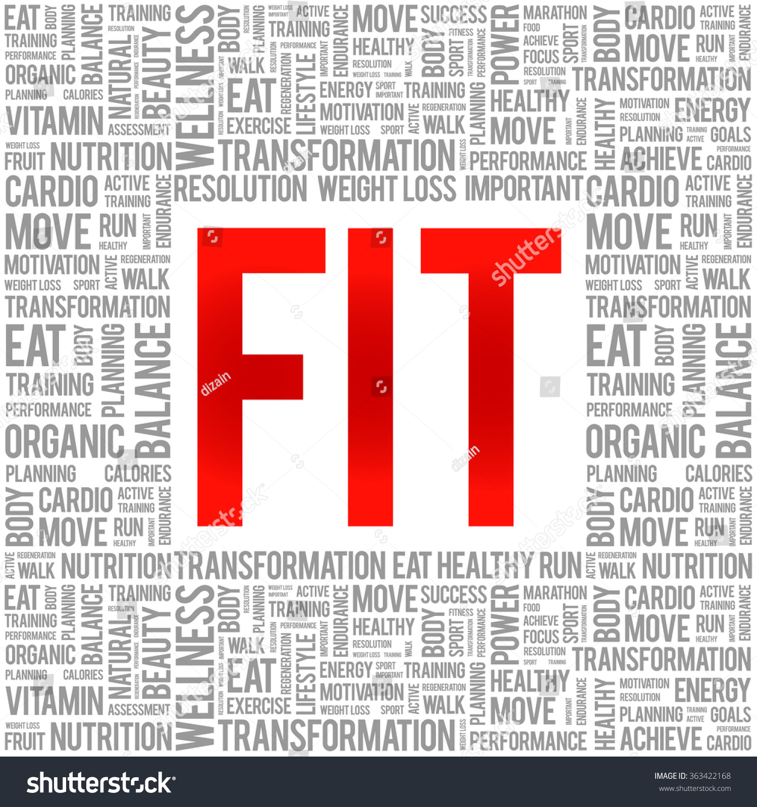 Fit Word Cloud Background Health Concept Stock Vector Royalty 1500x1600