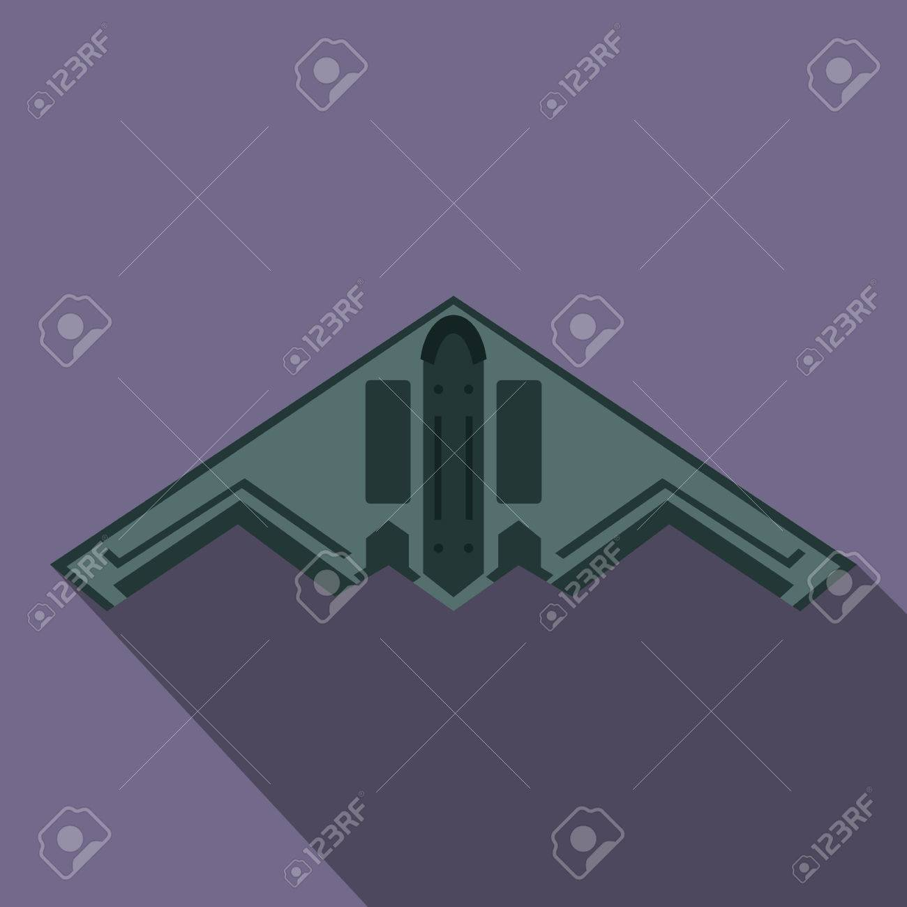 Stealth Bomber Icon In Flat Style On A Violet Background Royalty 1300x1300