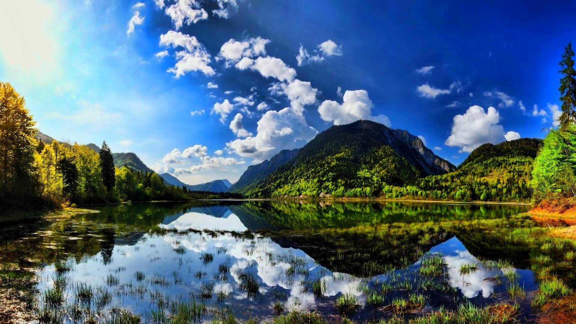 Summer sunshine scenes lake mountain wallpapers on your desktop screen 1920x1080