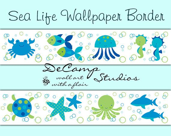 Life wallpaper border wall decals for baby boy or girl ocean creatures 570x453