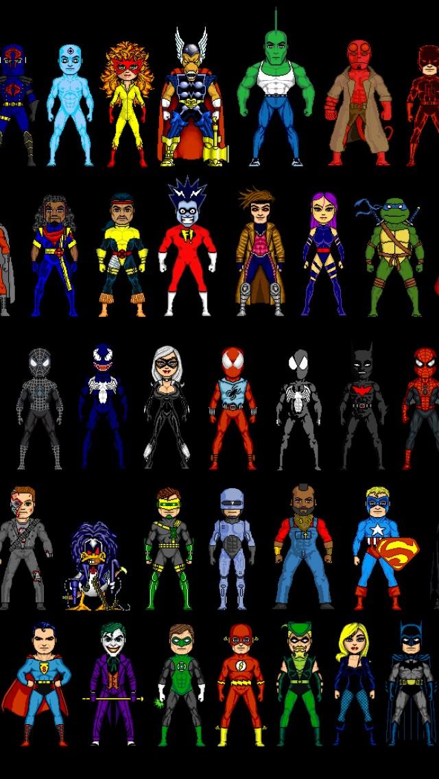 Pixelated Superheroes IPhone 5 Wallpaper IPhone5 Gallery 640x1136