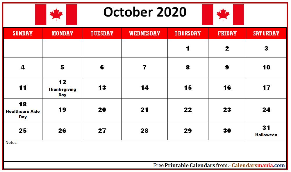 12 Monthly 2020 Canada Holidays Calendar 1001x592