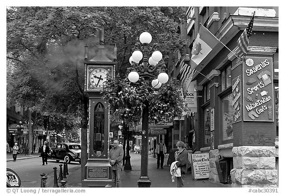 in Water Street Vancouver British Columbia Canada black and white 576x392
