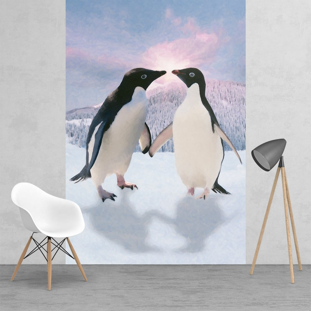 Penguins in love Monty and Mabel style Feature Wall Wallpaper 1000x1000