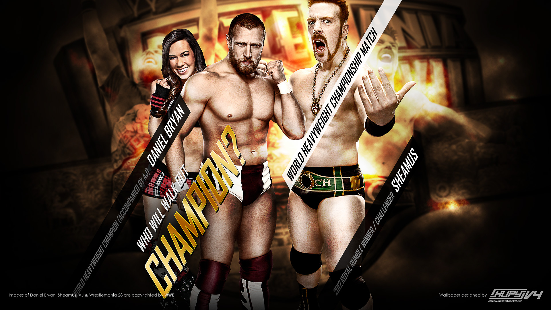 Sheamus vs Daniel Bryan c with AJ WrestleMania 28 WWE wallpaper 1920x1080
