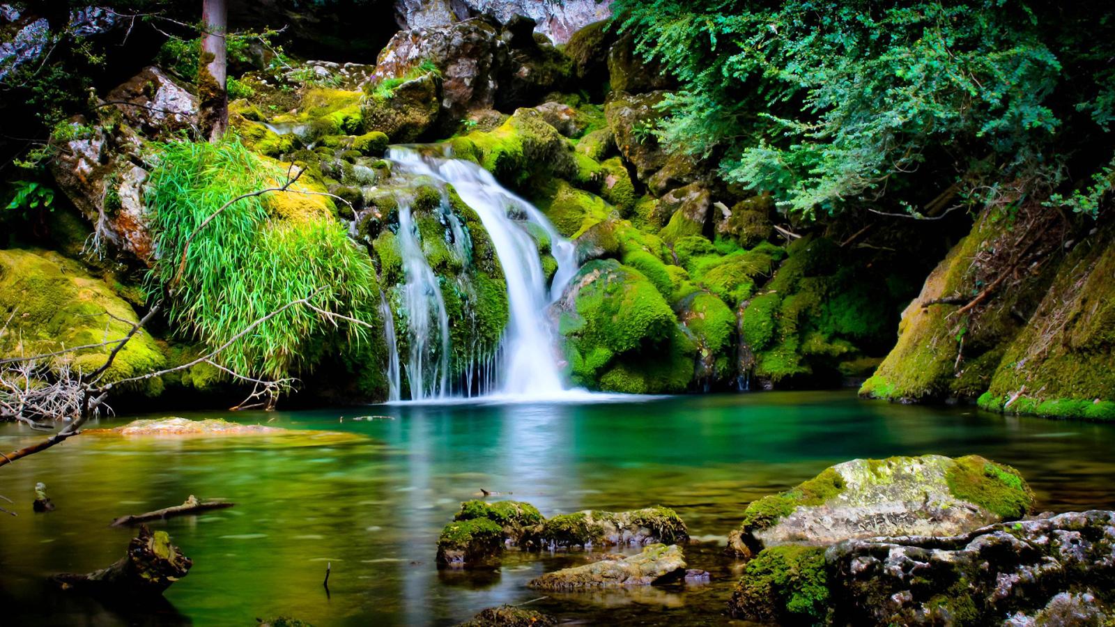 Beautiful Landscape Waterfall Spring Desktop Wallpaper 1600x900