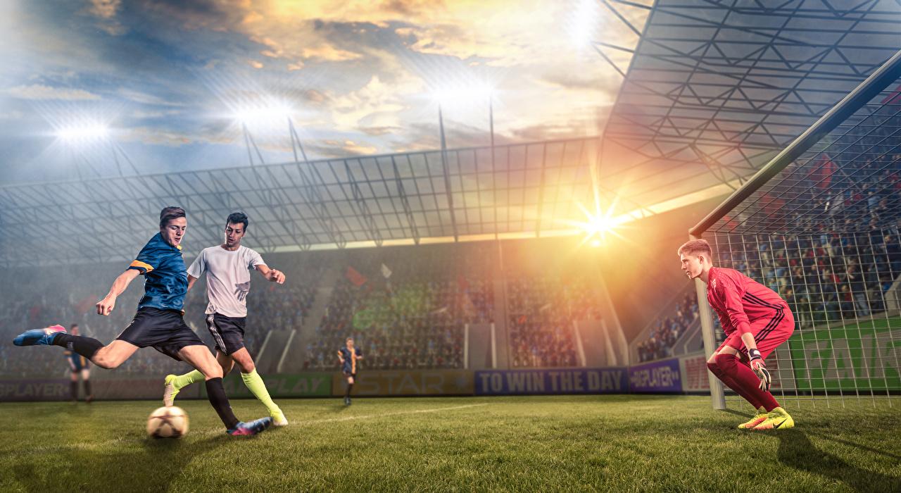 Desktop Wallpapers Man Goalkeeper football sports Footbal Lawn 1280x700