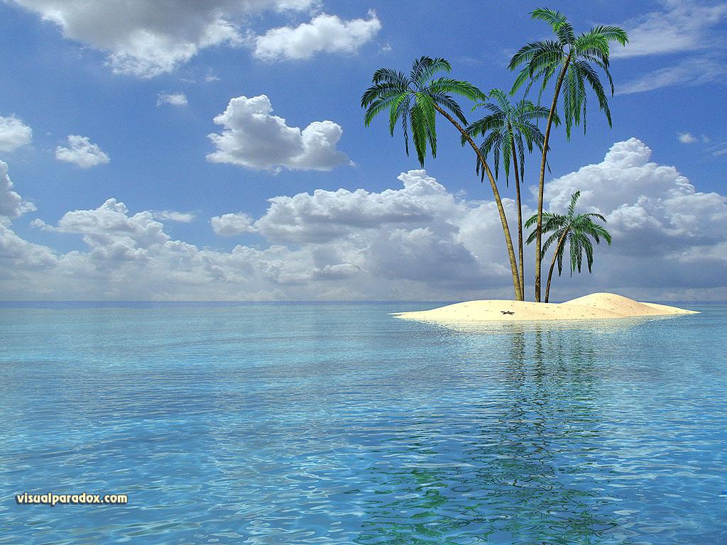 Tropical island beach wallpaper 1024x768