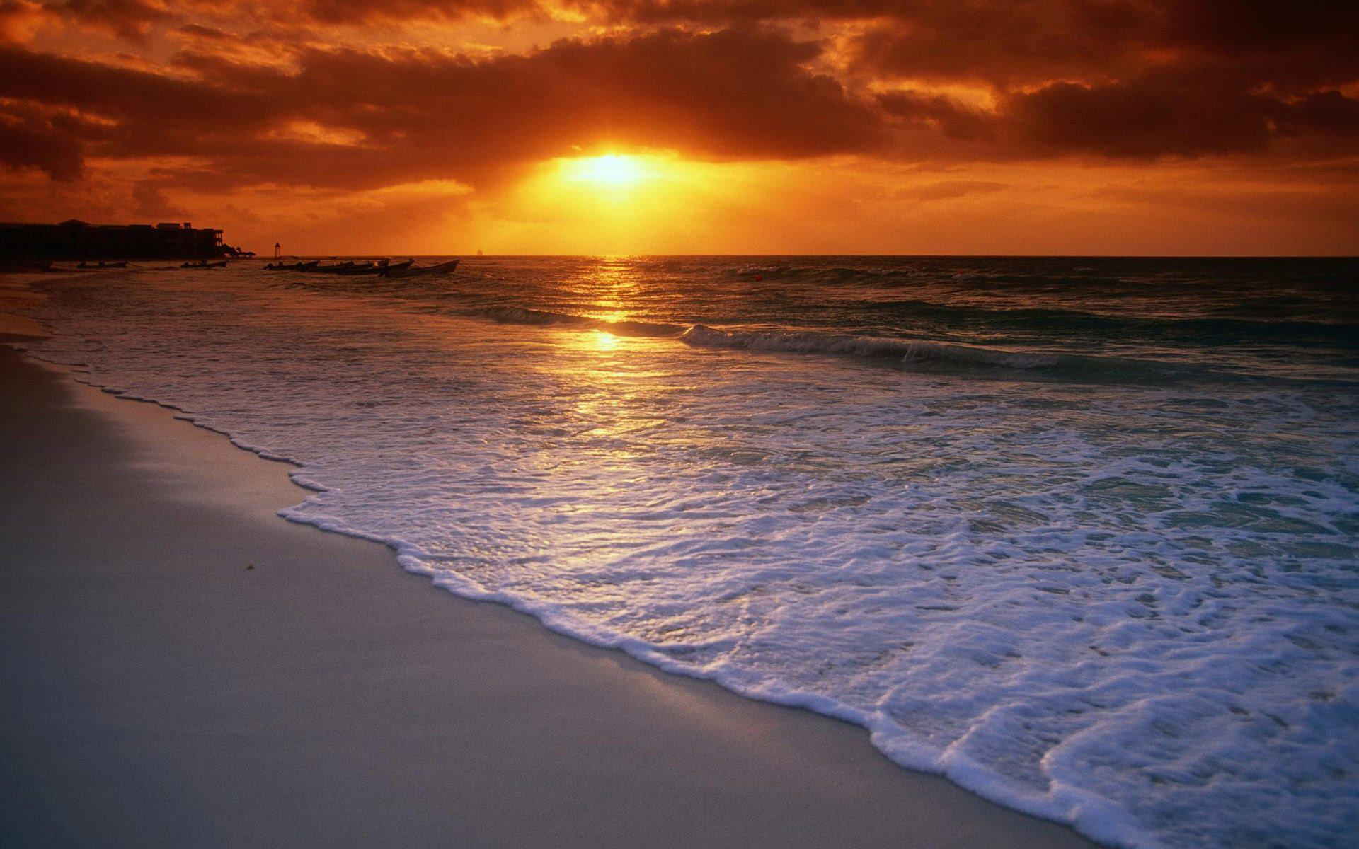 sunset beach wallpaper 1920x1200