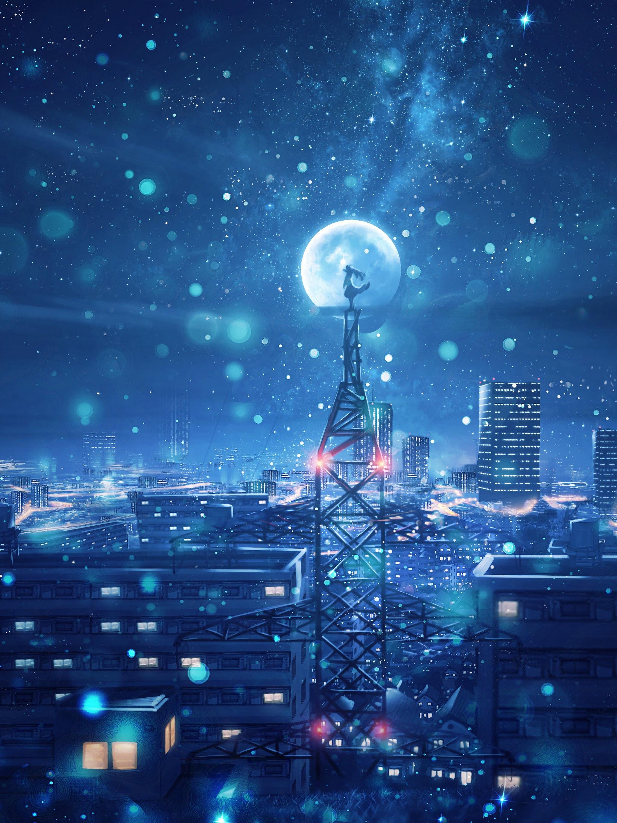 Night Sky City Stars Anime Scenery 4K Wallpaper 135 2048x2732