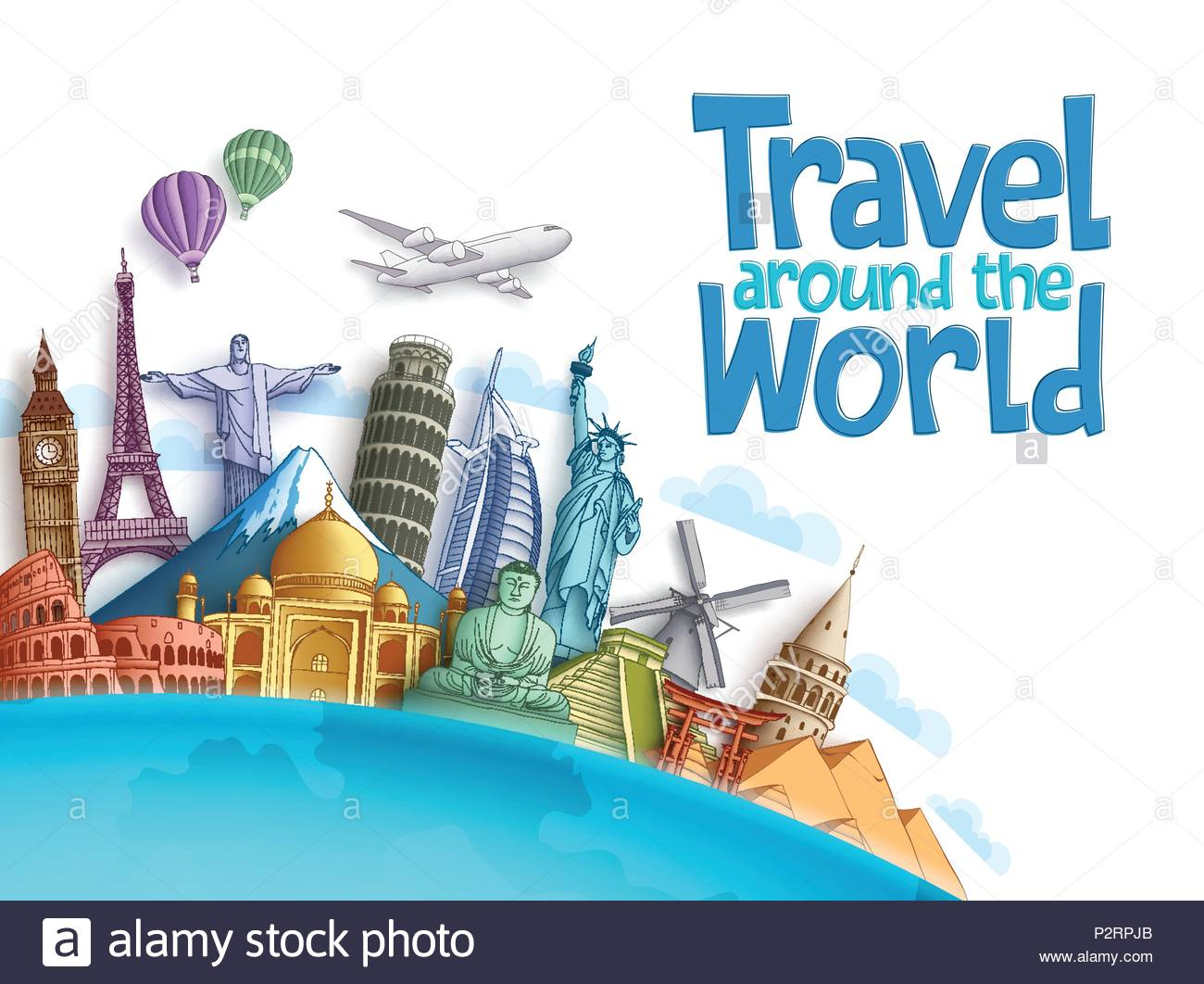 Travel around the world vector background and template with famous 1300x1062