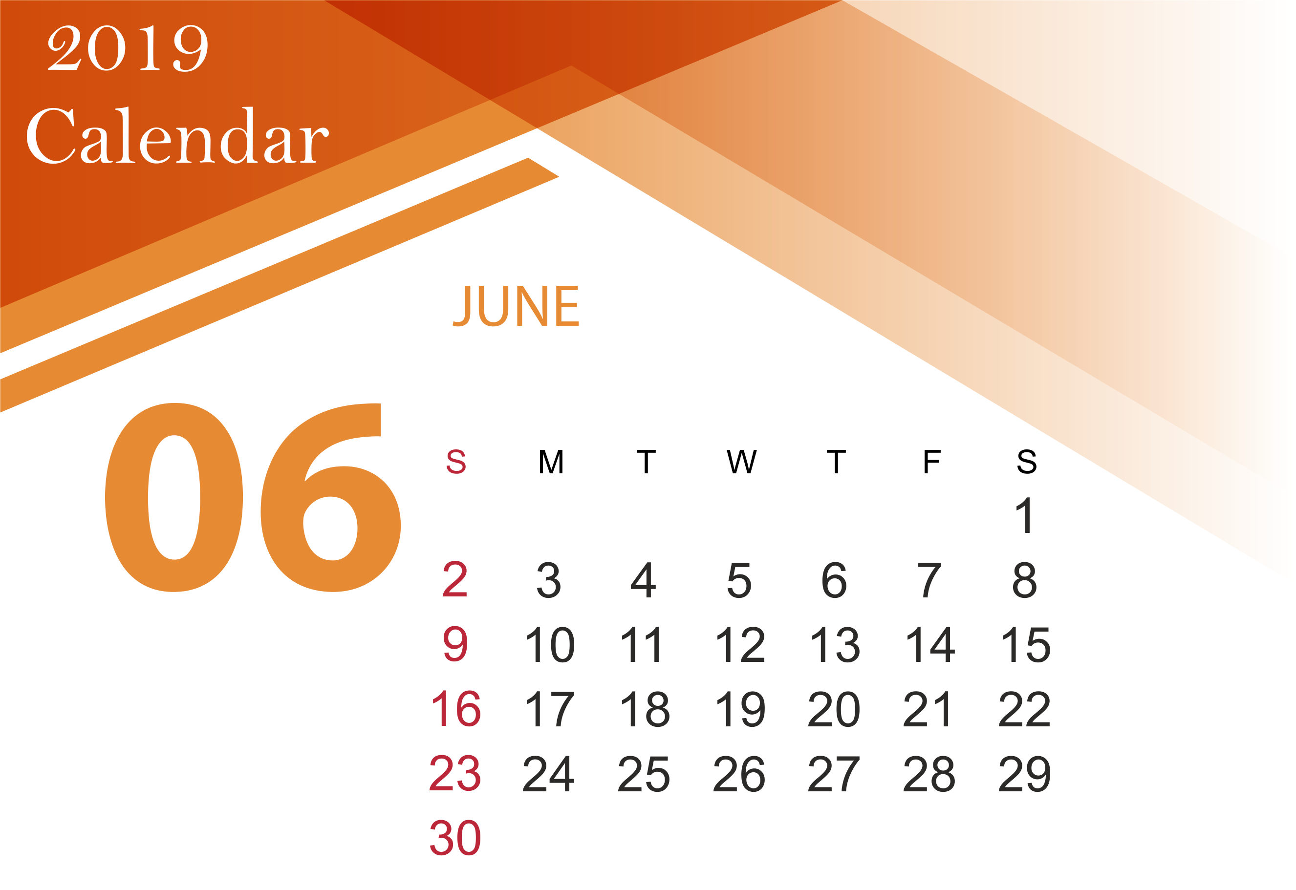 June 2019 Calendar Printable Template with Holidays 2652x1822