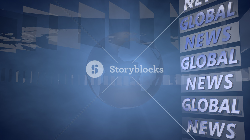 Blue News Background with a Globe useful as Background for 1000x563