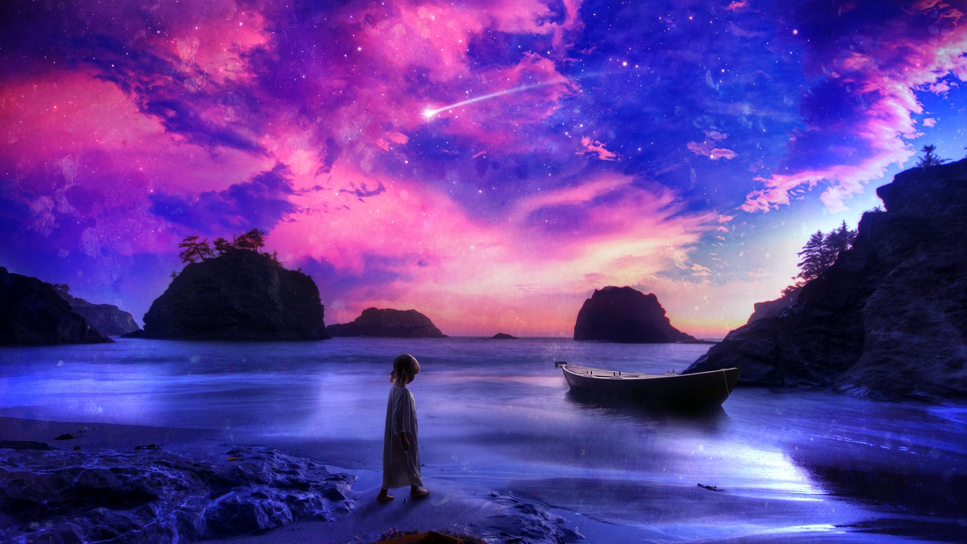 Child Shore Beach Purple Boat Stars Shooting Star fantasy ocean sea 1920x1080