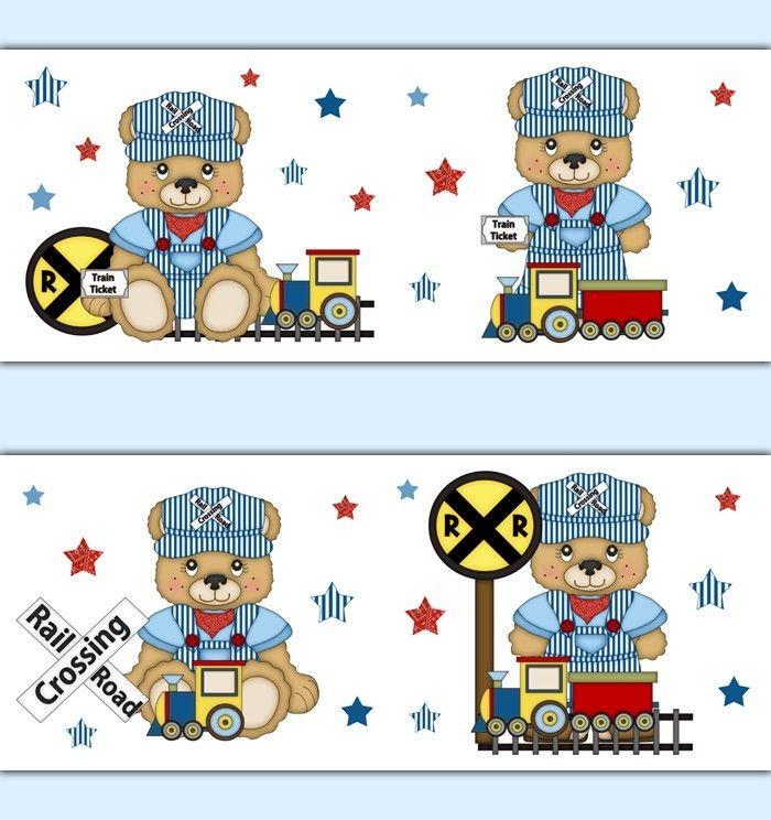 Teddy Bear Train Wallpaper Border Decals Boy Nursery Transportation 700x744