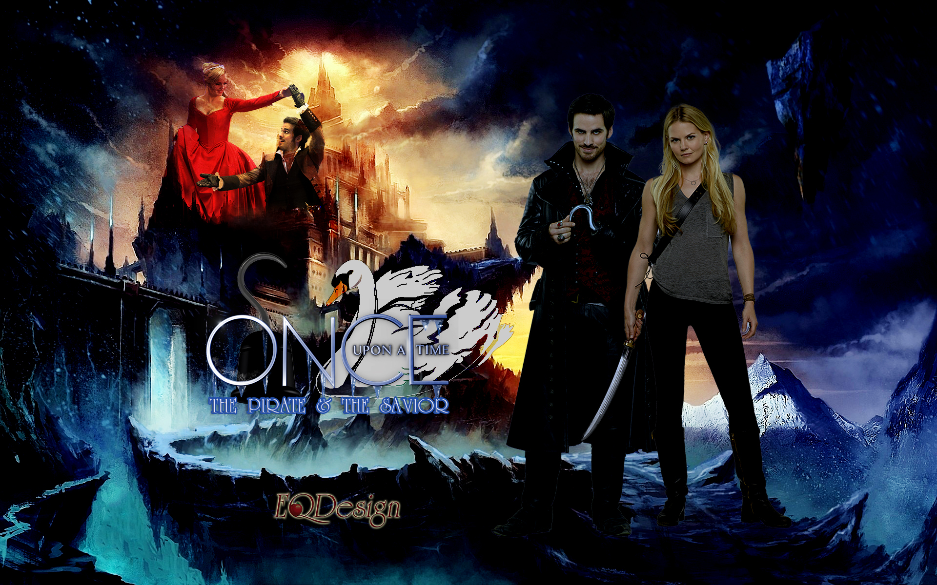 Emma and Captain Hook   Captain Swan by eqdesign 1920x1200