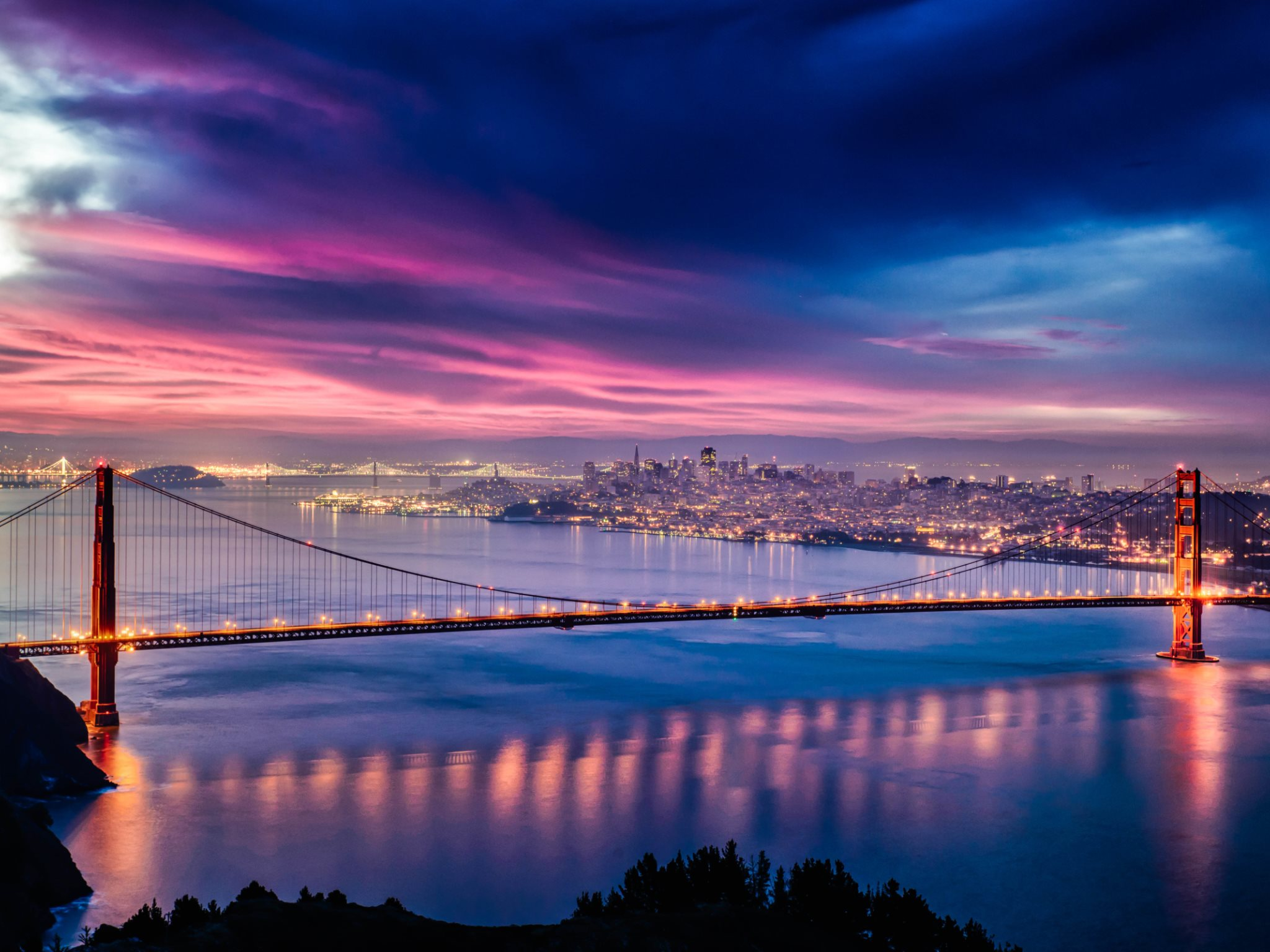 Skyfire over San Francisco Bay Bridge Wallpapers HD Wallpapers 2048x1536
