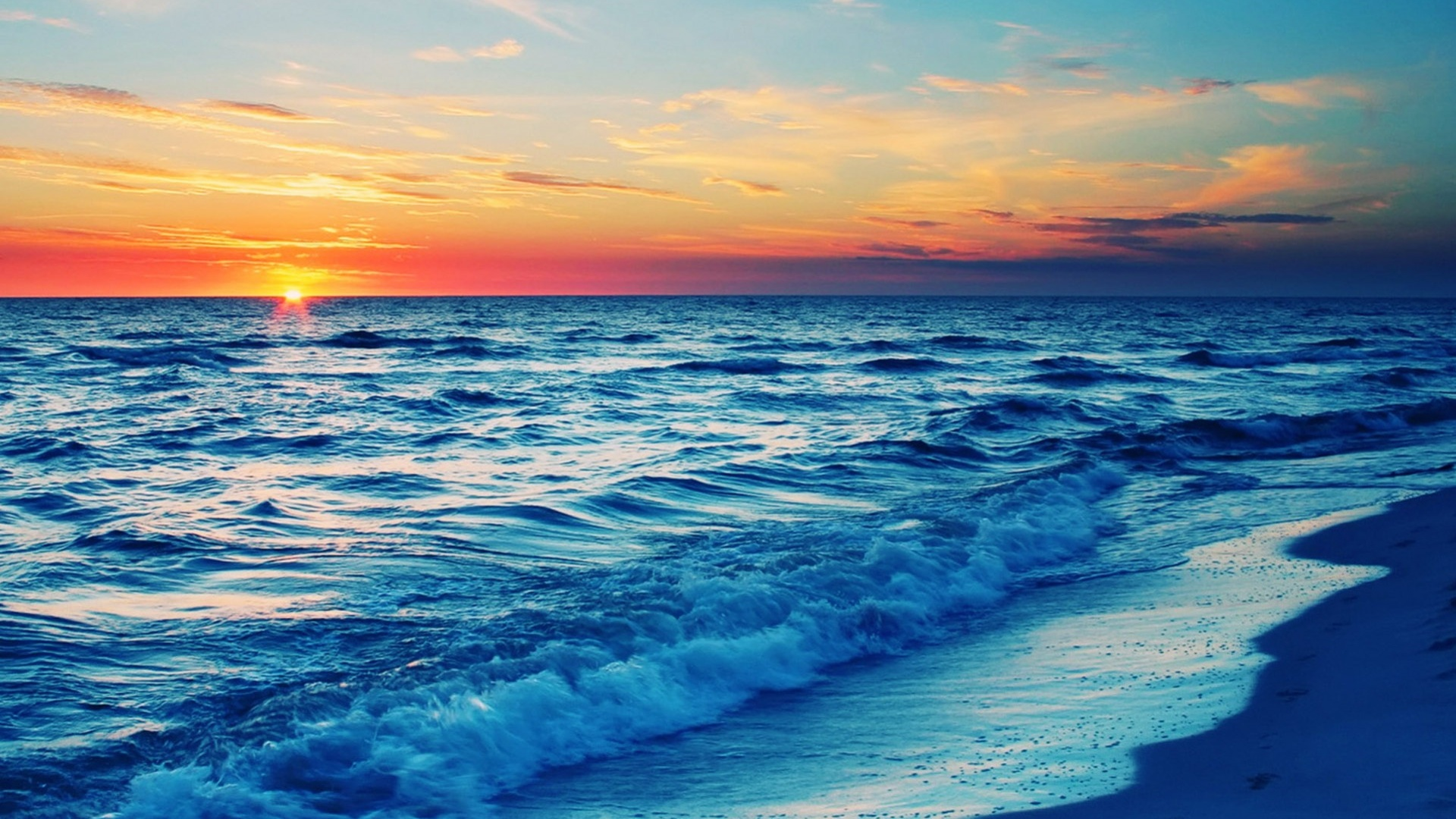1920x1080 Sunset Beach desktop PC and Mac wallpaper
