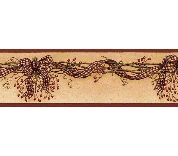 Rosehip Swag Wallpaper Border   Rustic Country Primitive 600x525