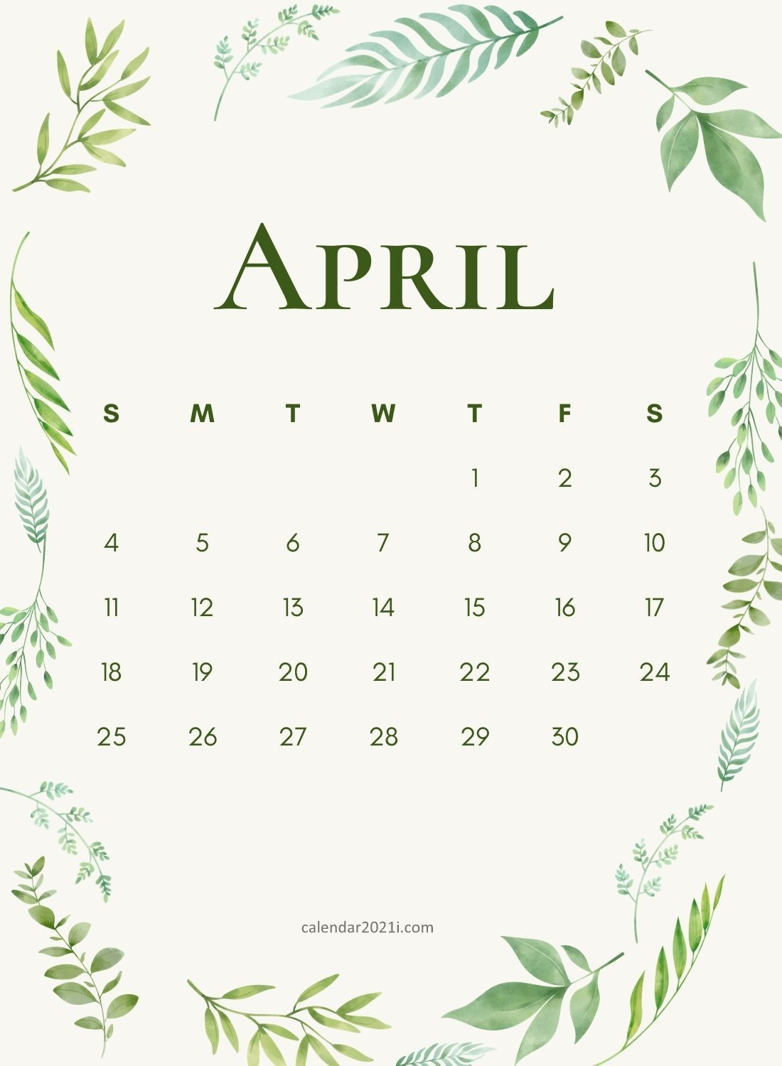 April 2021 Wall Calendar printable template download for House and 1100x1500