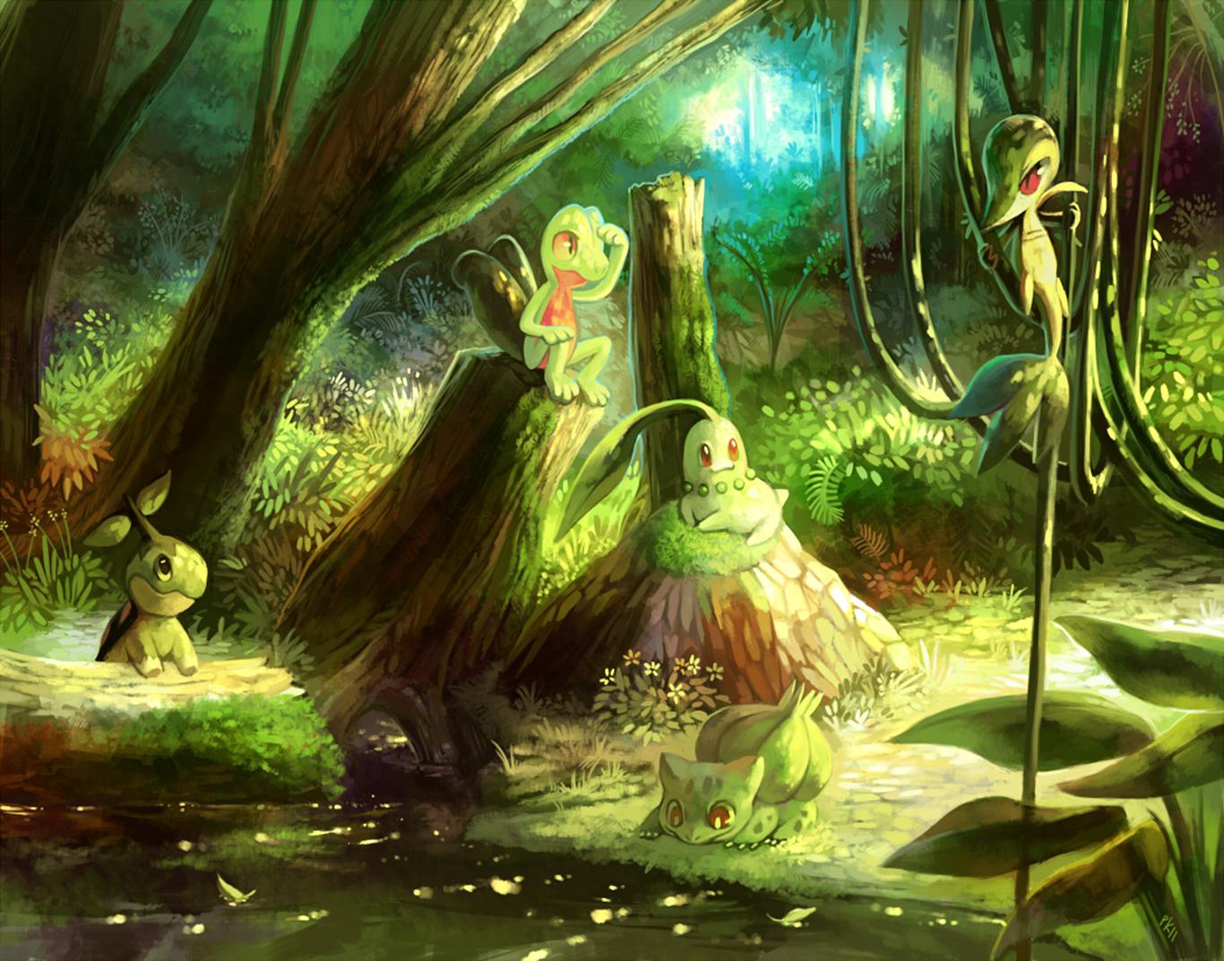 Anime Pokemon Pokmon Grass Pokmon Treecko Chikorita Snivy 1366x1073