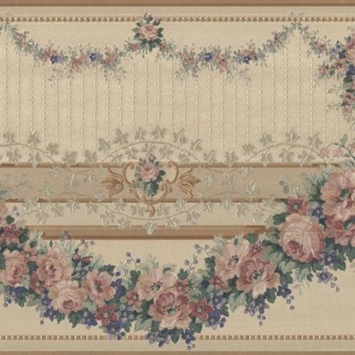 Victorian Peach Rose Flower Floral Swag Tassel Rope Green Wall paper Border