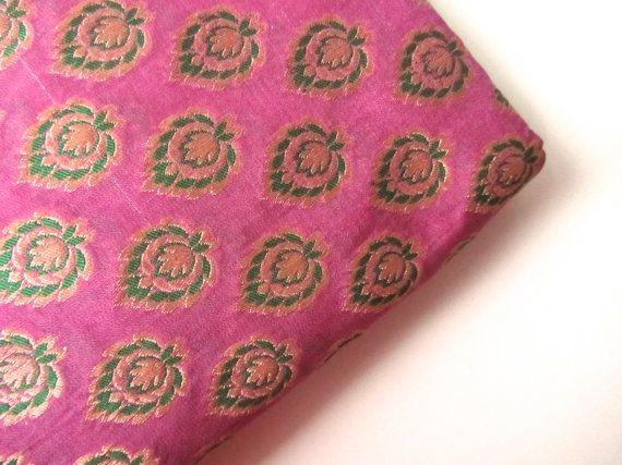 Pink green silk brocade flowers India fabric nr 224 fat quarter 570x427