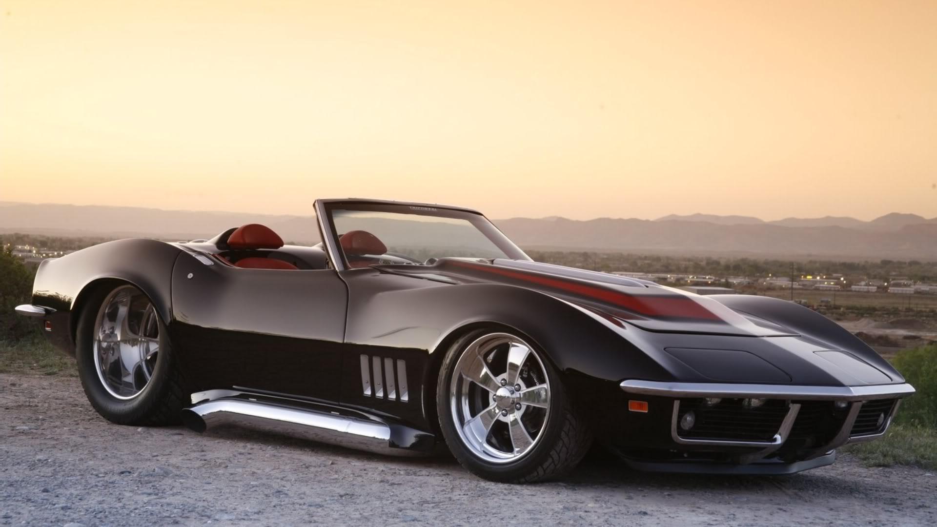 1969 black chevrolet corvette roadster wallpaper 1920x1080 36944 - Corvette Stingray 1969 Wallpaper
