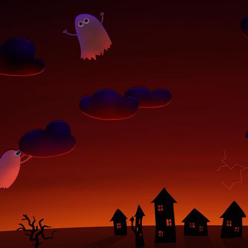 Halloween Cute Ghosts Village 500x500