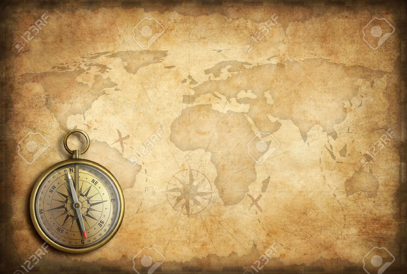 Old Brass Or Golden Compass With World Map Background Stock Photo 1300x877