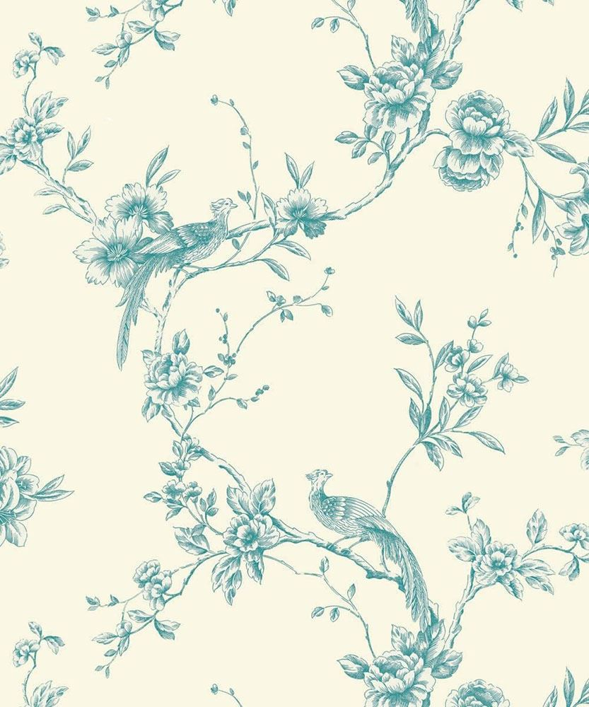 Opera Chinoise Teal Floral Pattern Songbird Flower Motif Birds 833x1000