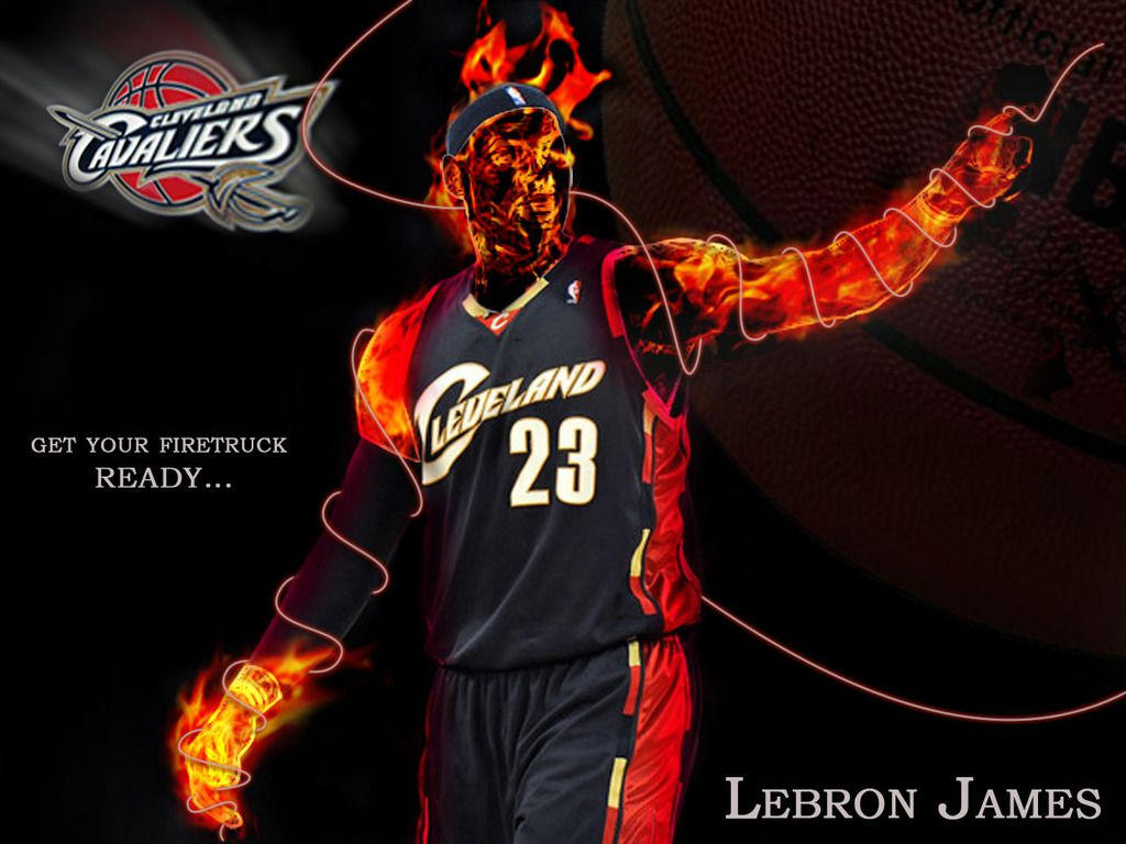 LeBron James Wallpaper On Fire when he played for the Cleveland 1024x768