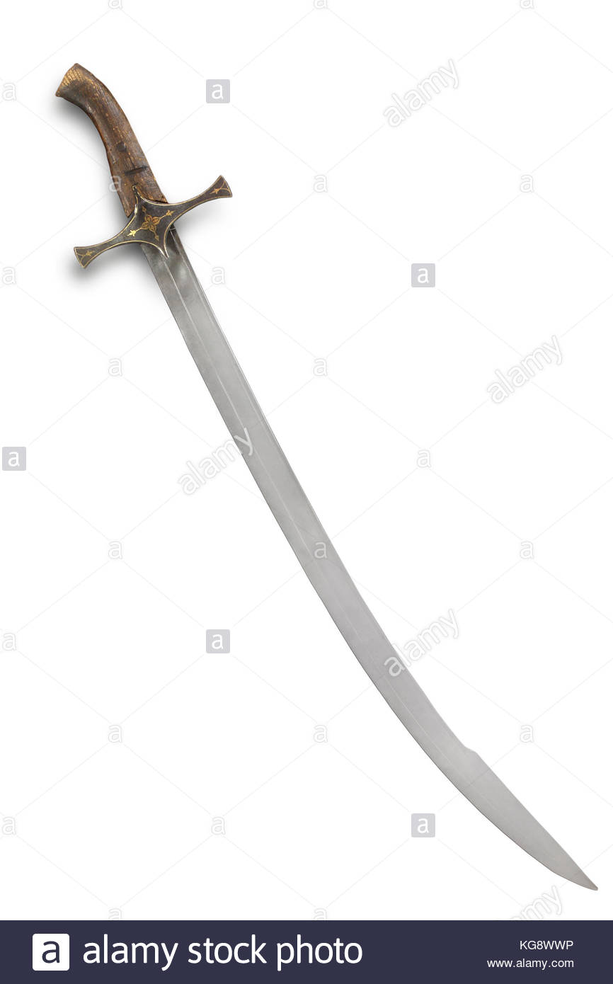 Balkan saber sabre of the 16 17th centuries Path on the white 866x1390