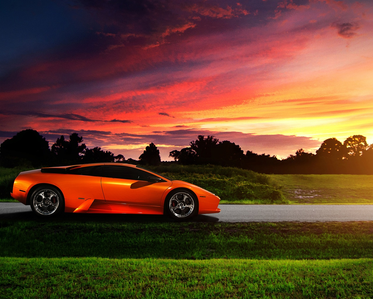 orange supercar at sunset Wallpaper 1280x1024 resolution wallpaper 1280x1024