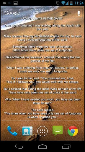 Footprints In The Sand Poem Text Footprints live wallpaper for 288x512