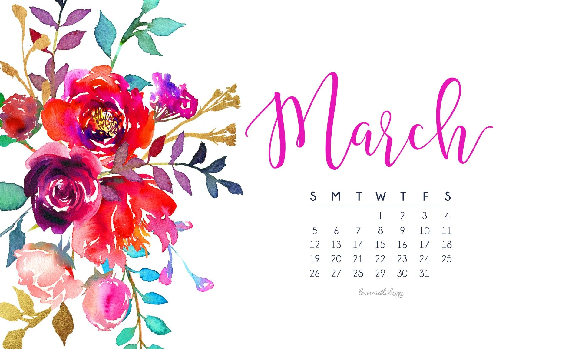 March 2017 Calendar Tech Pretties Dawn Nicole Designs 1856x1151