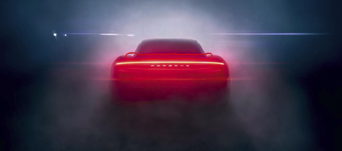 Porsche released the latest design sketch of the Taycan from the 1176x522