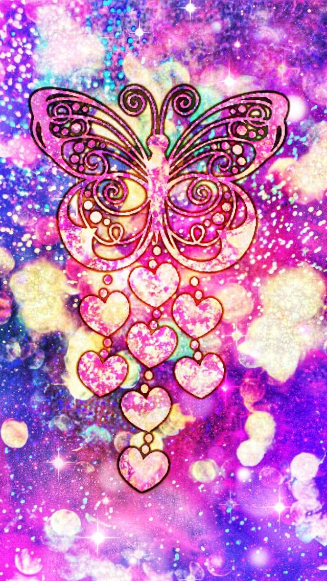 Glittery Butterfly Charm made by me purple sparkly wallpapers 640x1136