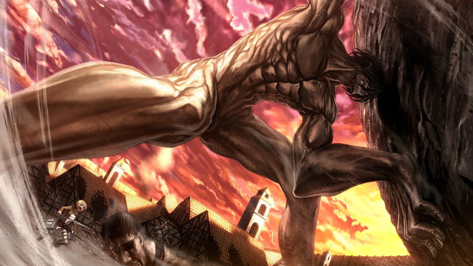 Eren titan form mikasa ackerman armin arlert shingeki no kyojin attack 1600x900