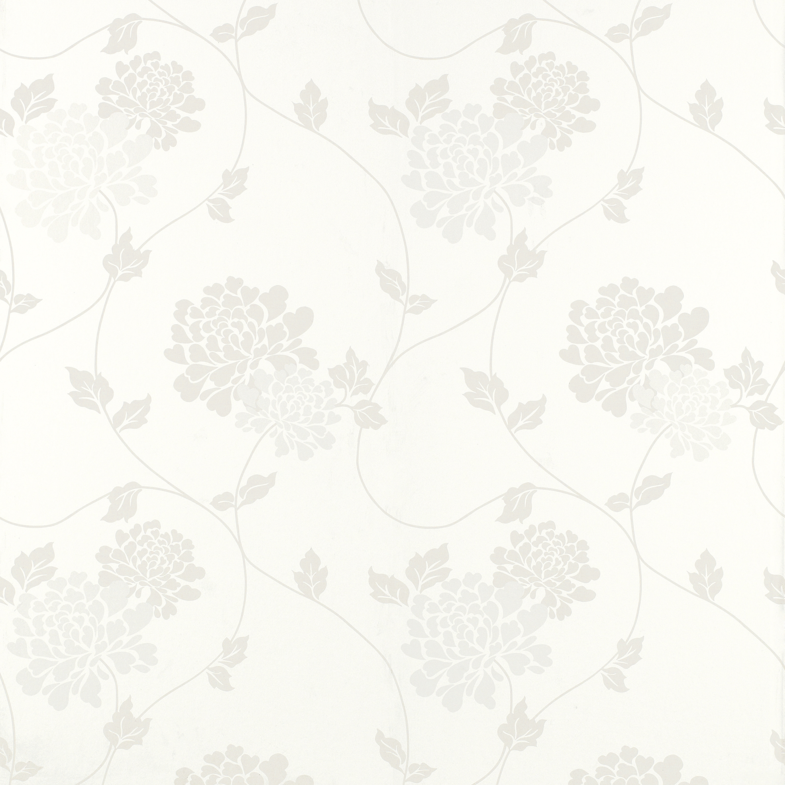Home Decorating Wallpaper Isodore Cotton White Floral Wallpaper 2500x2500