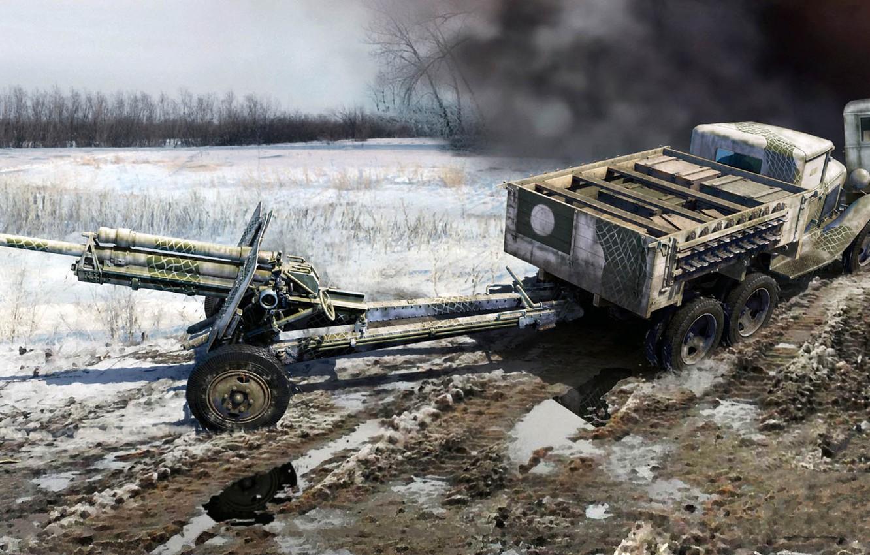 Wallpaper GAZ AAA Soviet truck 76 mm USV BR divisional gun 1332x850
