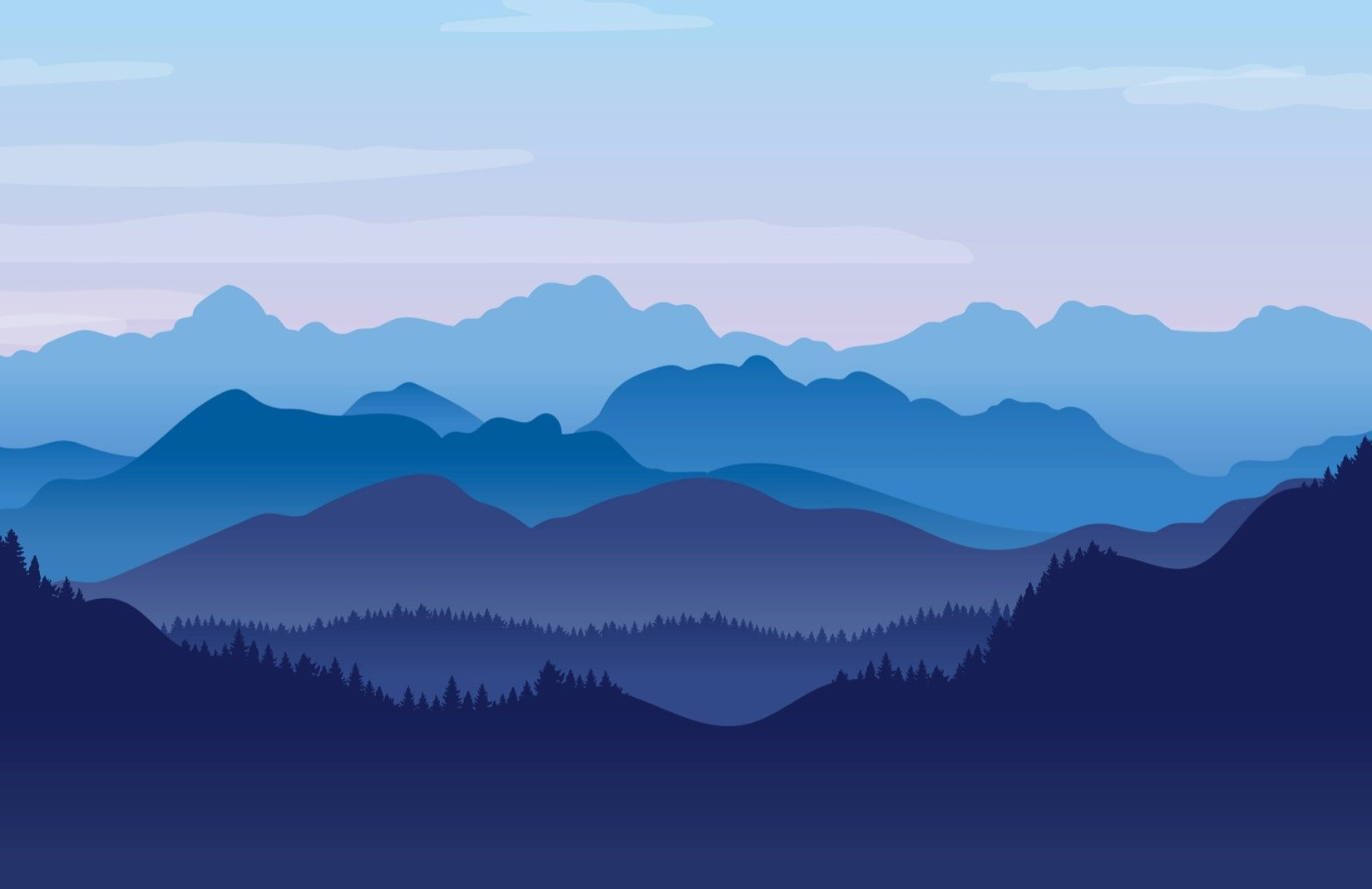 Blue Illustrated Landscape Mountains Wallpaper Mural   Mountain 1650x1070