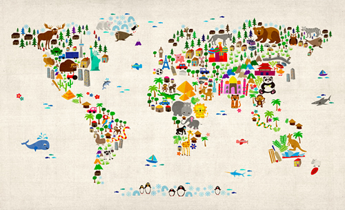 Wallpaper Kids Animal Map of the World AM1107W Maps International 500x304