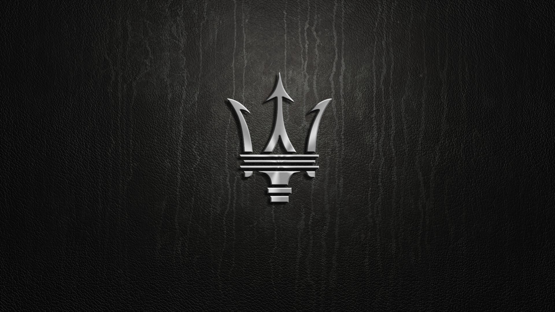 silver logo on black background Logo wallpaper hd Maserati 1920x1080