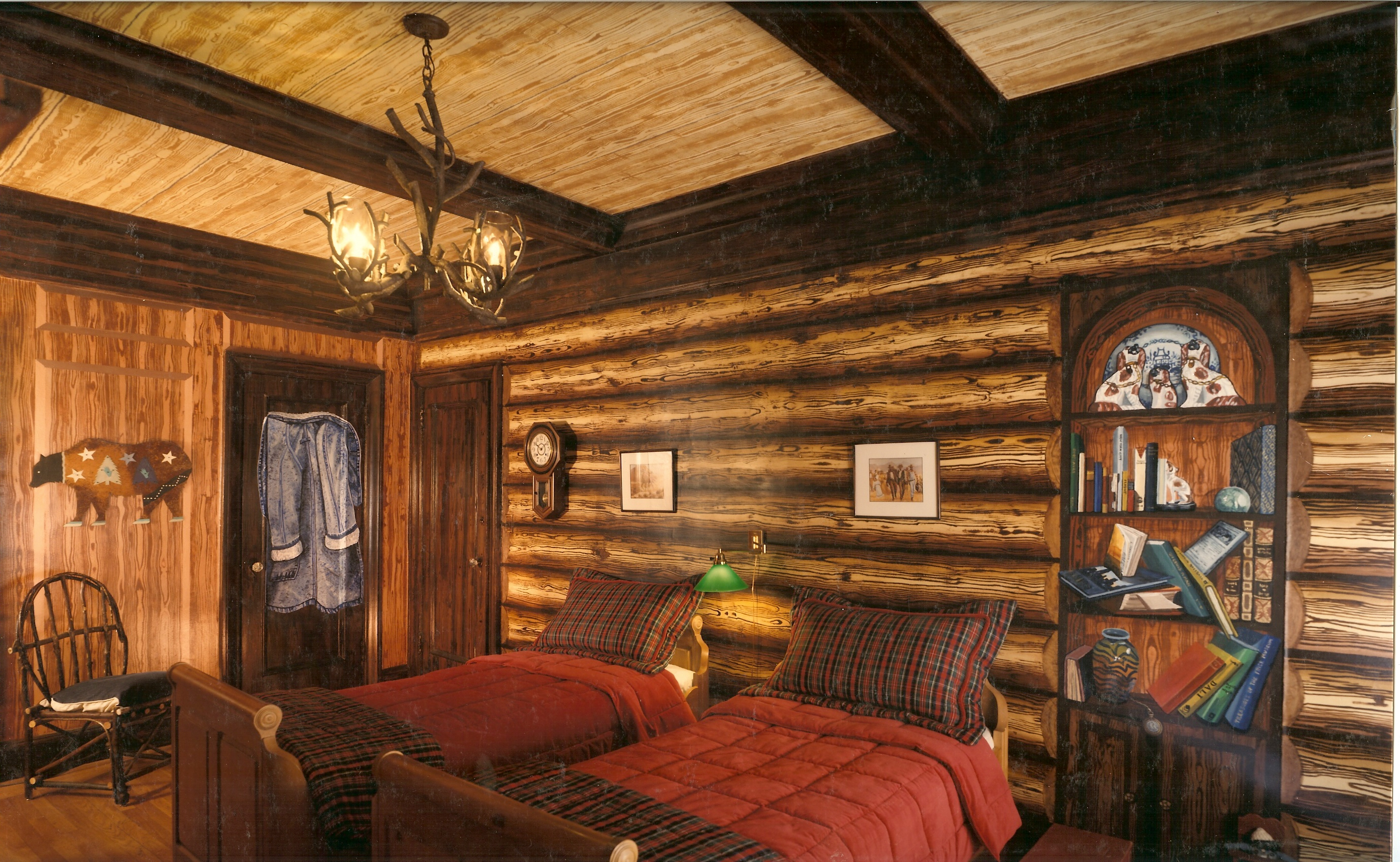 Log Cabin mural for boys room Apartment Madison Avenue New York 2756x1696