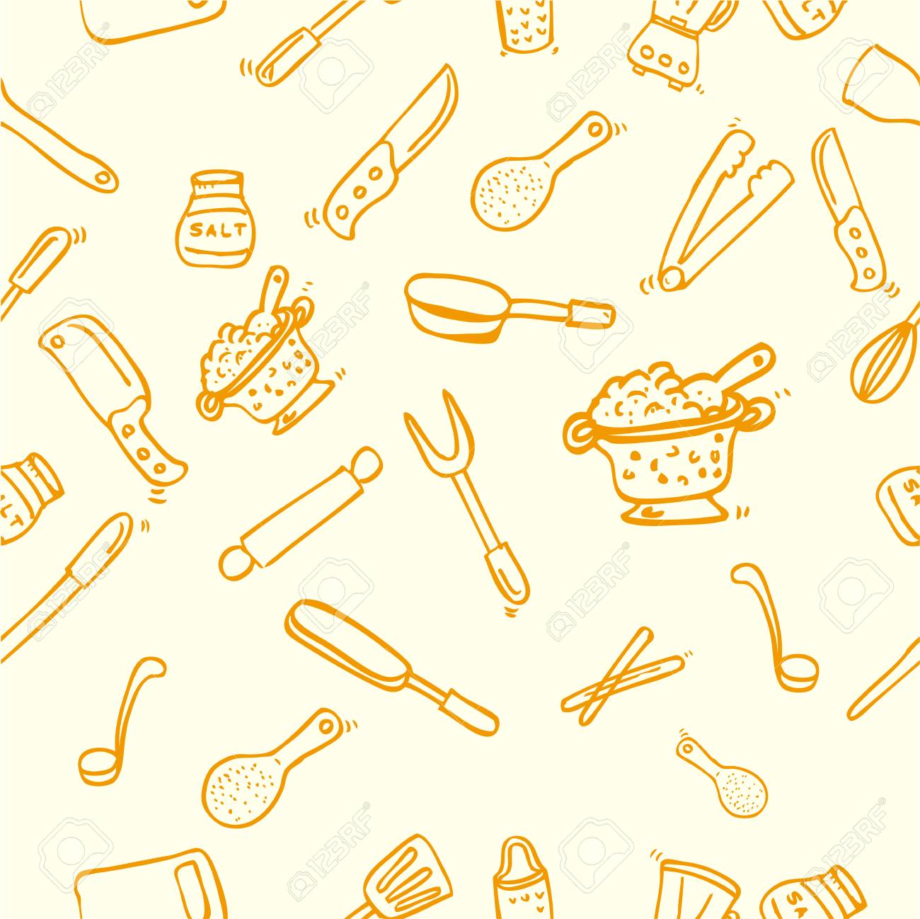 Hand Draw Sketch Seamless Background Cook Ware For Wallpaper 1300x1298